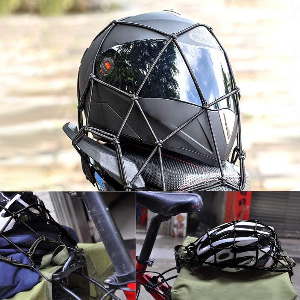 FOROREH Rete per Bagagliaio per Motocicletta Rete per Casco per Casco con Rete per tensionamento del Gancio Rete di Sicurezza per Elastico Cinghia per Bagaglio per Bicicletta per Motocicletta