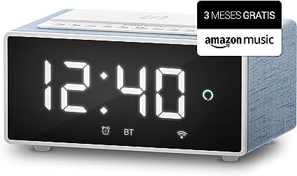 Energy Sistem Reloj Despertador Digital con Alexa Integrado Smart Speaker Wake Up con 3 Meses Gratis de Amazon Music(10W, Cargador Qi, Wi-Fi, Bluetooth): Amazon.es: Electrónica