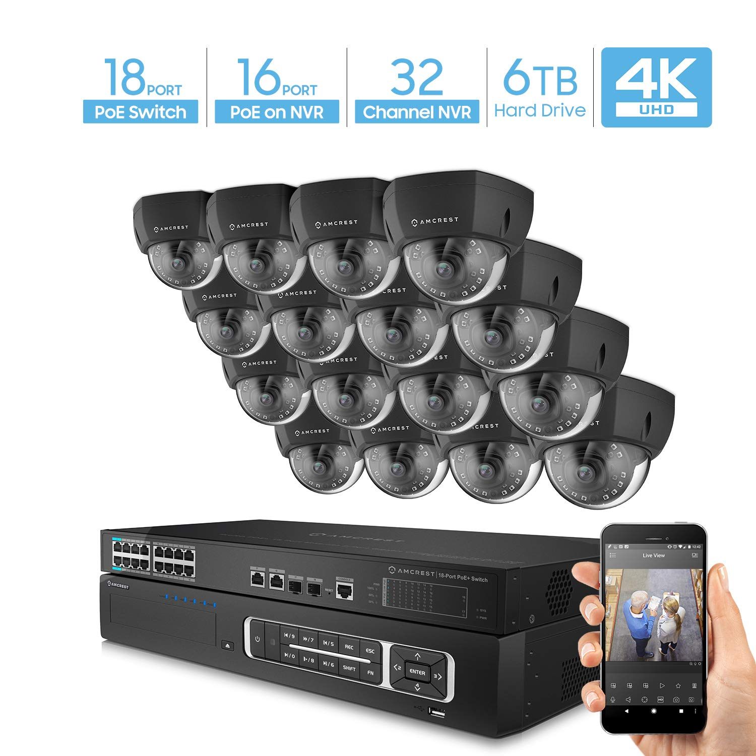 Amcrest 4K UltraHD Video Security Camera System w/ 4K 32CH PoE NVR, (16) x 4K Dome IP PoE Cameras, 18-Port PoE+ Switch w/Gigabit Uplink, Pre-Installed 6TB Hard Drive (Supports up to 24TB) (Black) by Amcrest