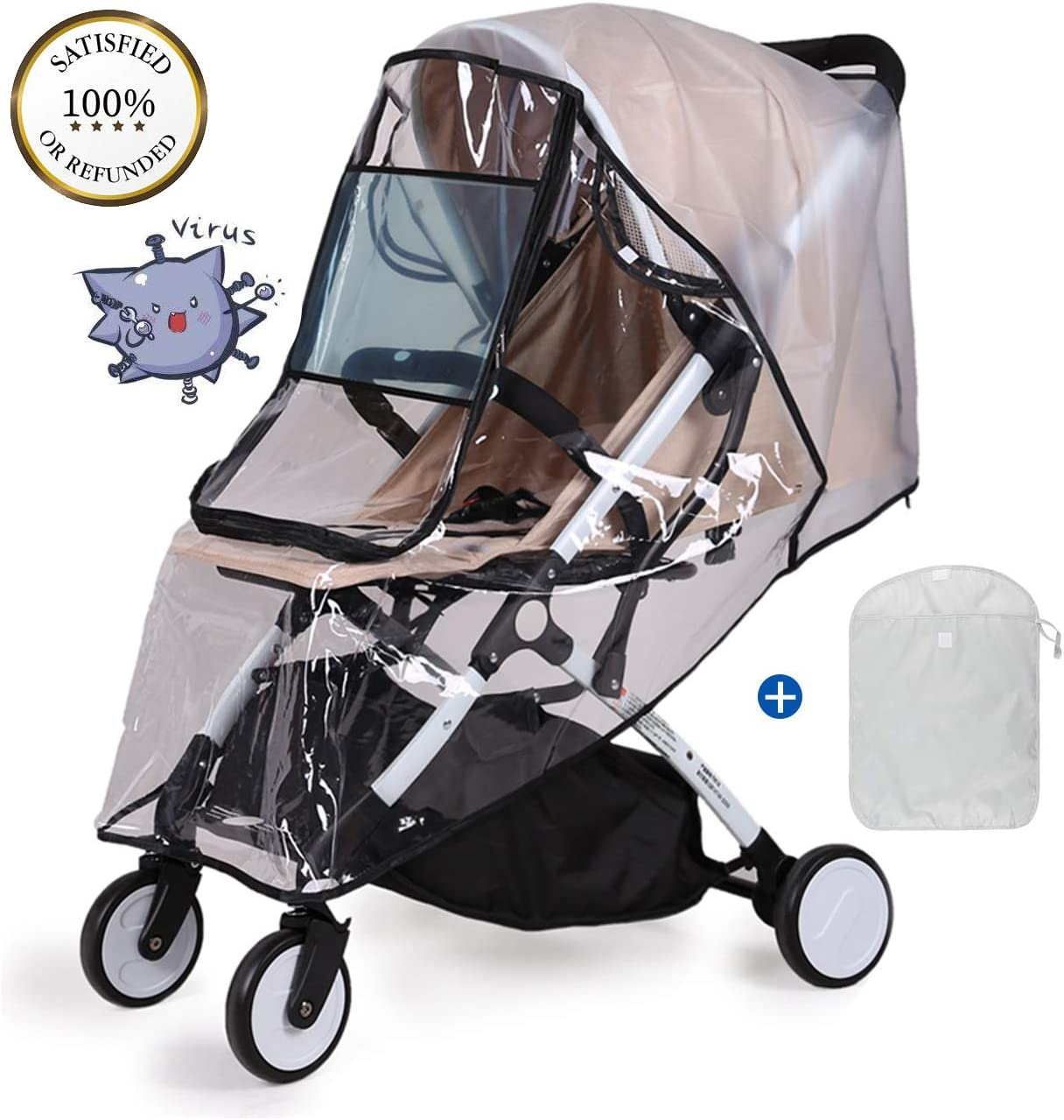  PVC-Free Stroller Buggy Air Circulating Water Resistant and Durable Baby Against Rain Snow Wind Sleet Dust Travel Outdoor Clear EVA Transparent Universal Rain Cover for Pushchair Black-M