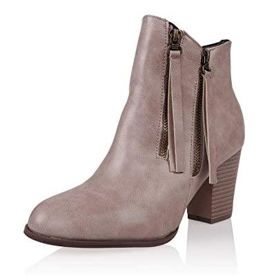 AIIT Women's Fashion Chunky High Heel Ankle Boot Shoe: Shoes