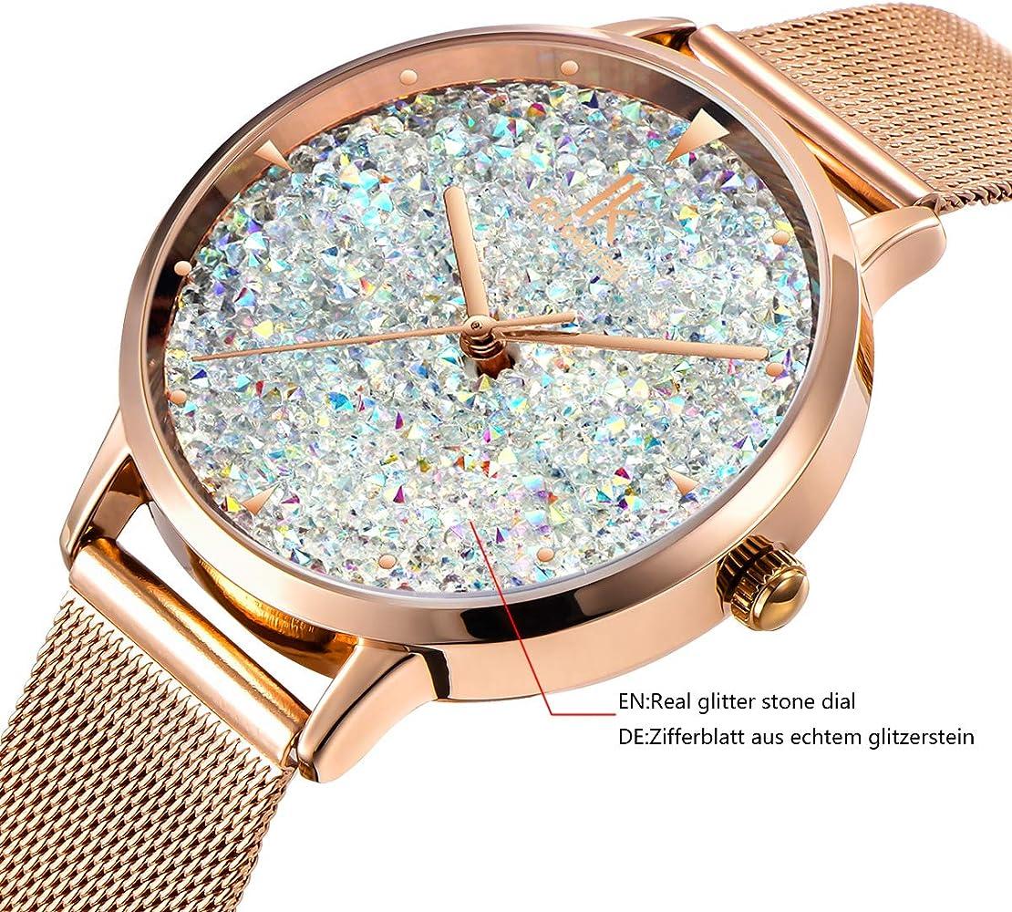 Alienwork Reloj Mujer Relojes Acero Inoxidable Oro Rosa Analógicos ...