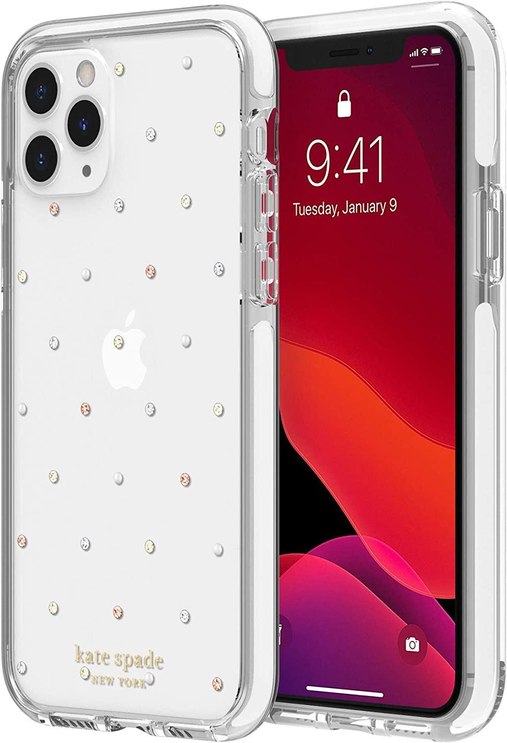 kate spade new york Pin Dot Case for iPhone 11 Pro - Defensive Hardshell with White Bumper
