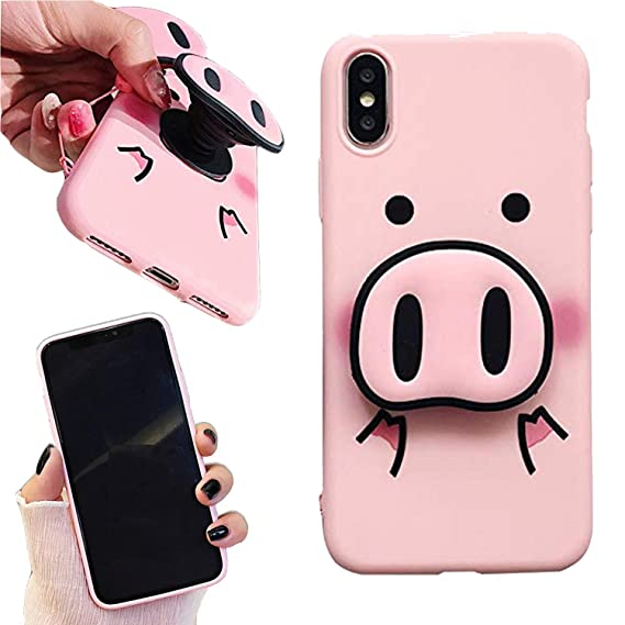 timeless design ded3a 30b43 Amazon.com: iPhone XR Case - Cute Pig Nose Pop Socket Cell Phone ...