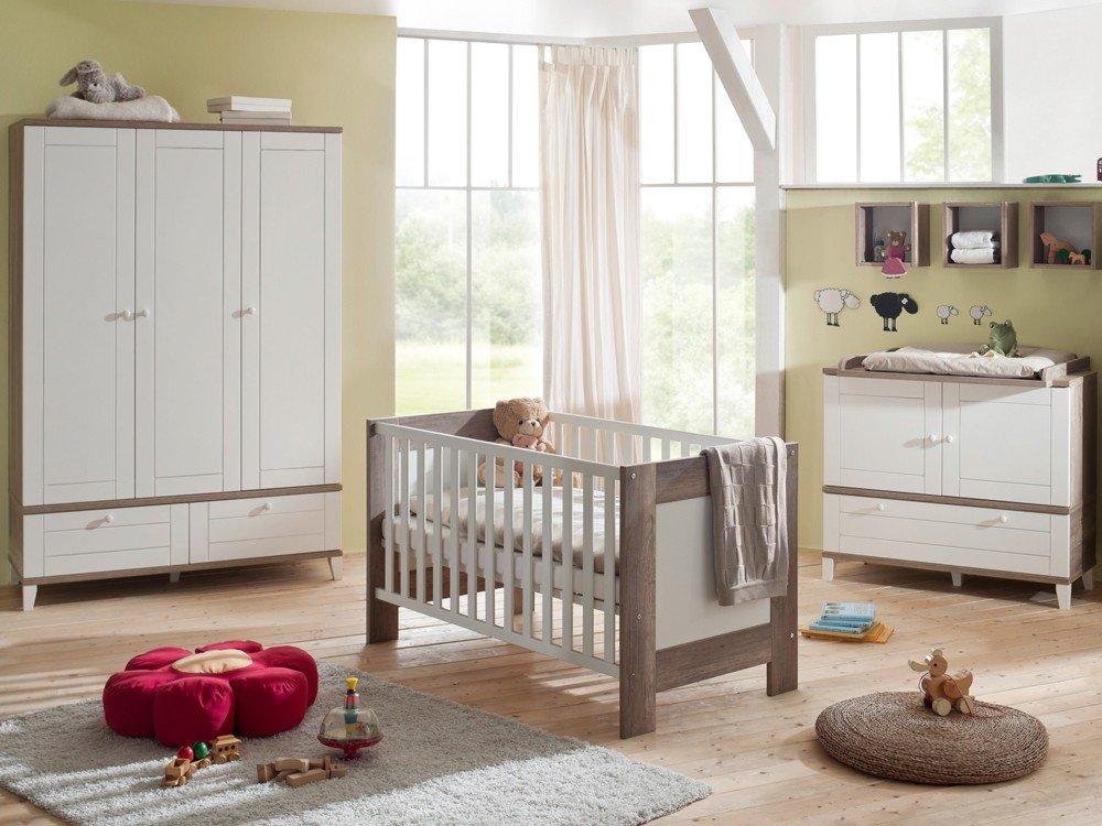 Babyzimmer SET 3 teilig Kinderbett Wickelkommode Kleiderschrank wildeiche trüffel