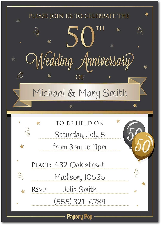 50th Wedding Anniversary Invitations With Envelopes Pack Of 30 50th Wedding Anniversary Invites Cards