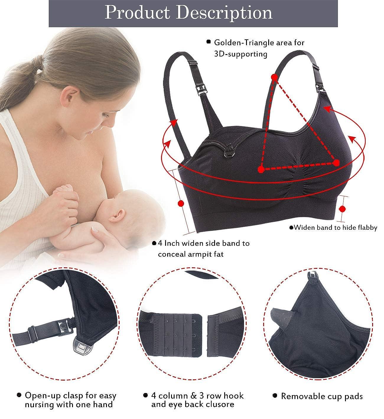 LYSHION Womens Cotton Spandex Seamless Full Coverage Nursing Bra for Breastfeeding-1 Pack