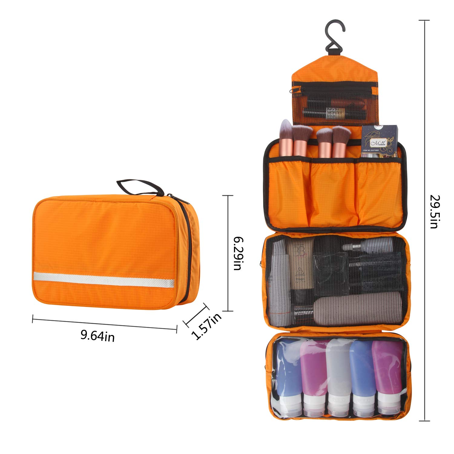 MONSTINA Travel Toiletry Bag Cosmetic Organizers with Hanging Hook Use in Hotel,Bathroom(Orange) by MONSTINA