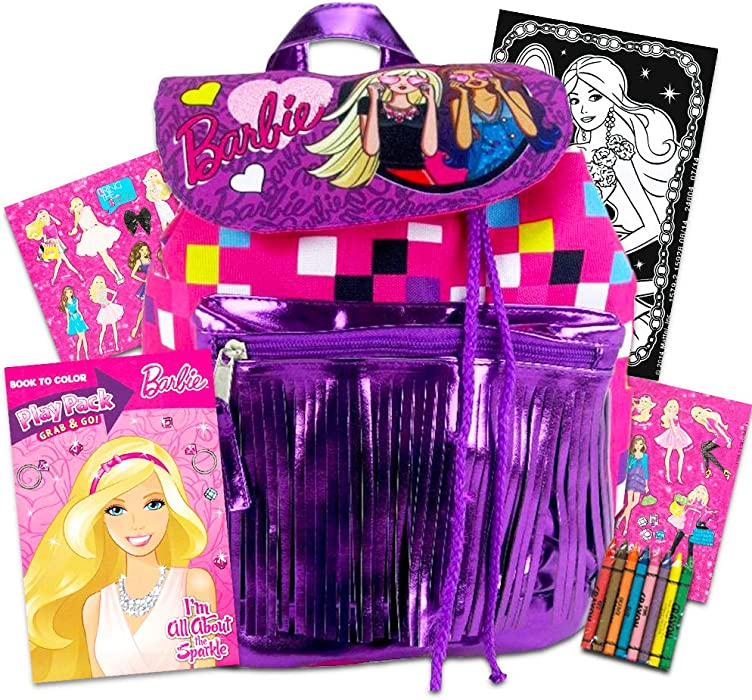 Barbie Mini Flap Drawstring Backpack with Front Pocket