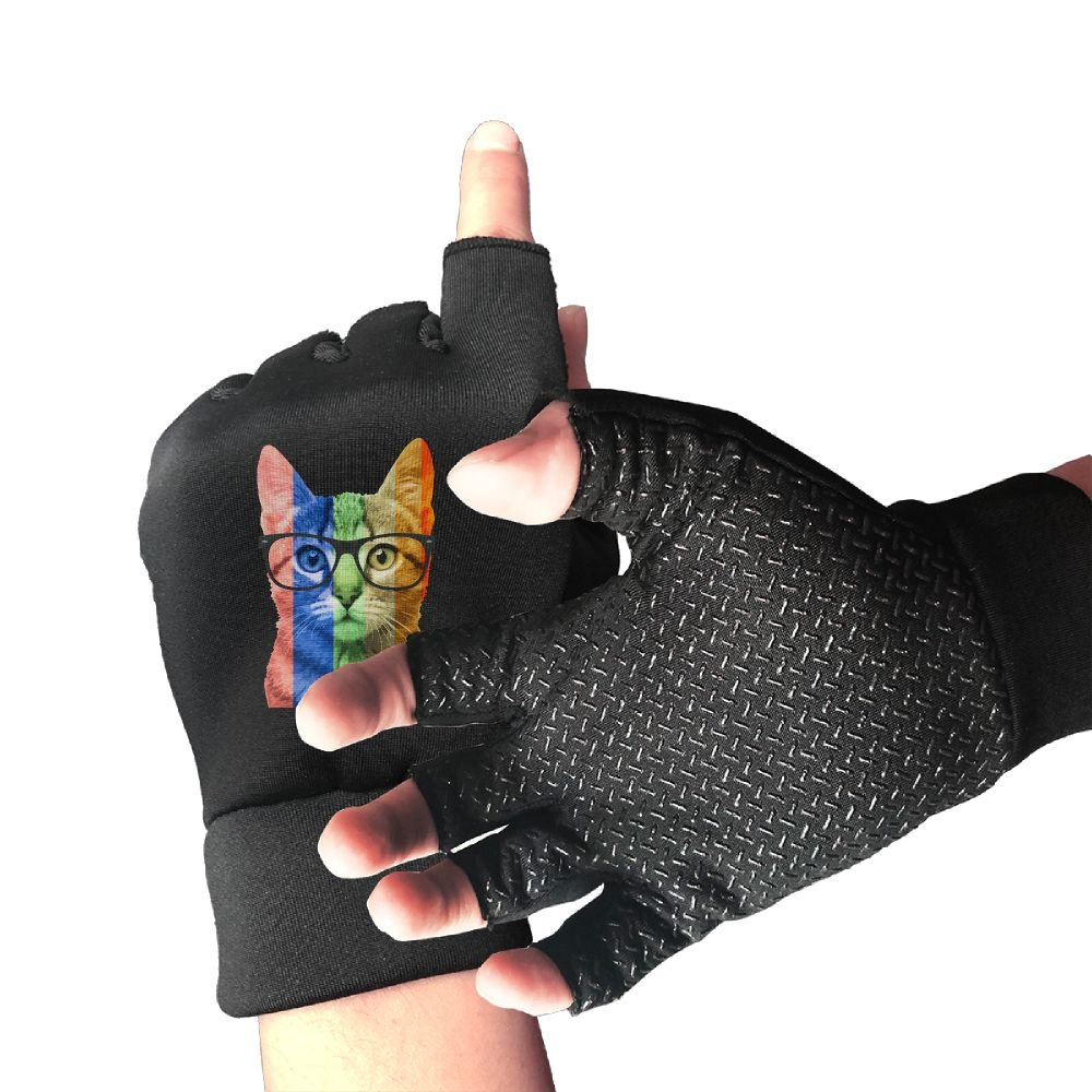 Rainbow Cat With Glasses Gay Pride Unisex Half Finger Gloves