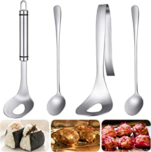 4 Pieces Meatball Spoons Stainless Steel Meatball Spoon Non-Stick Homemade Meat Balls Maker Molds with Long Handle for Kitchen Dinning Bar Cooking