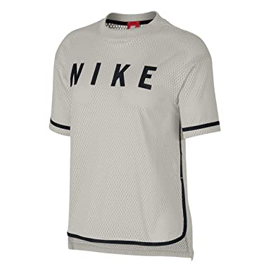 Nike NSW Top SS Mesh Light Bone Black c06f9b8ef18