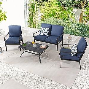 PatioFestival Patio Furniture Set 4 Piece Outdoors Sofas with 6.3 Inch Cushion Metal Bistro Conversation Set(Denim Blue)