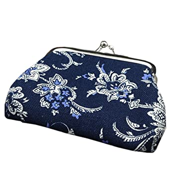 Koolee - Monedero de porcelana, diseño floral, color azul y ...