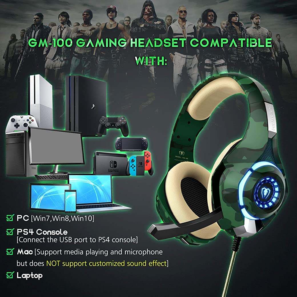 Beexcellent Cascos PS4 Auriculares Gaming GM-100
