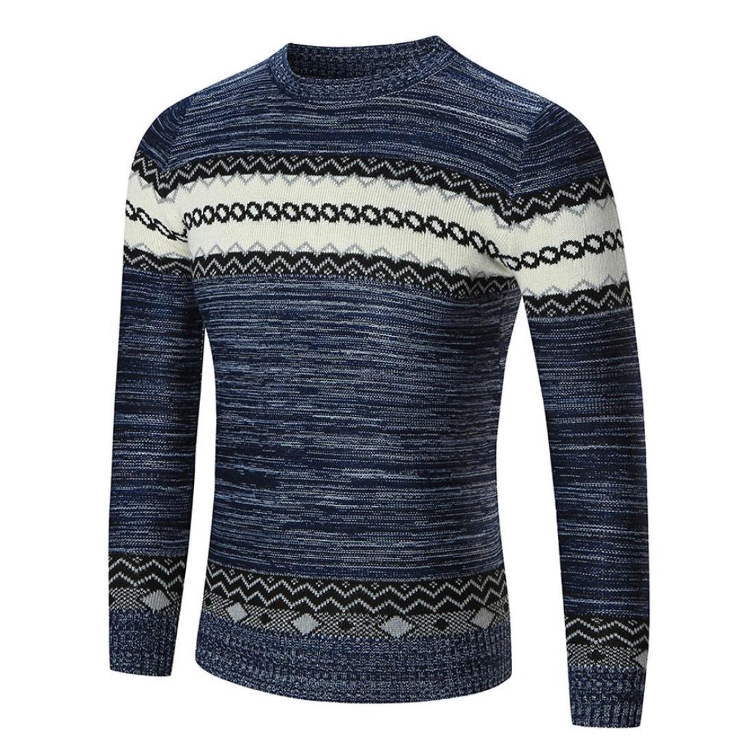 Hot,Yang-Yi 2017 Men's Autumn Winter Sweater Pullover Slim Jumper Knitwear Outwear (Navy, S)