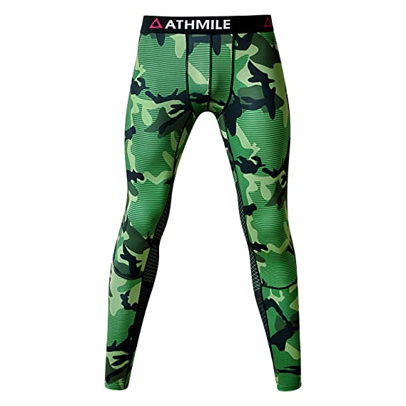 58a0918571a2f Amazon.com: Athmile Men's Compression Pants Cool Dry Sports Tights  Baselayer Capris Legging: Clothing