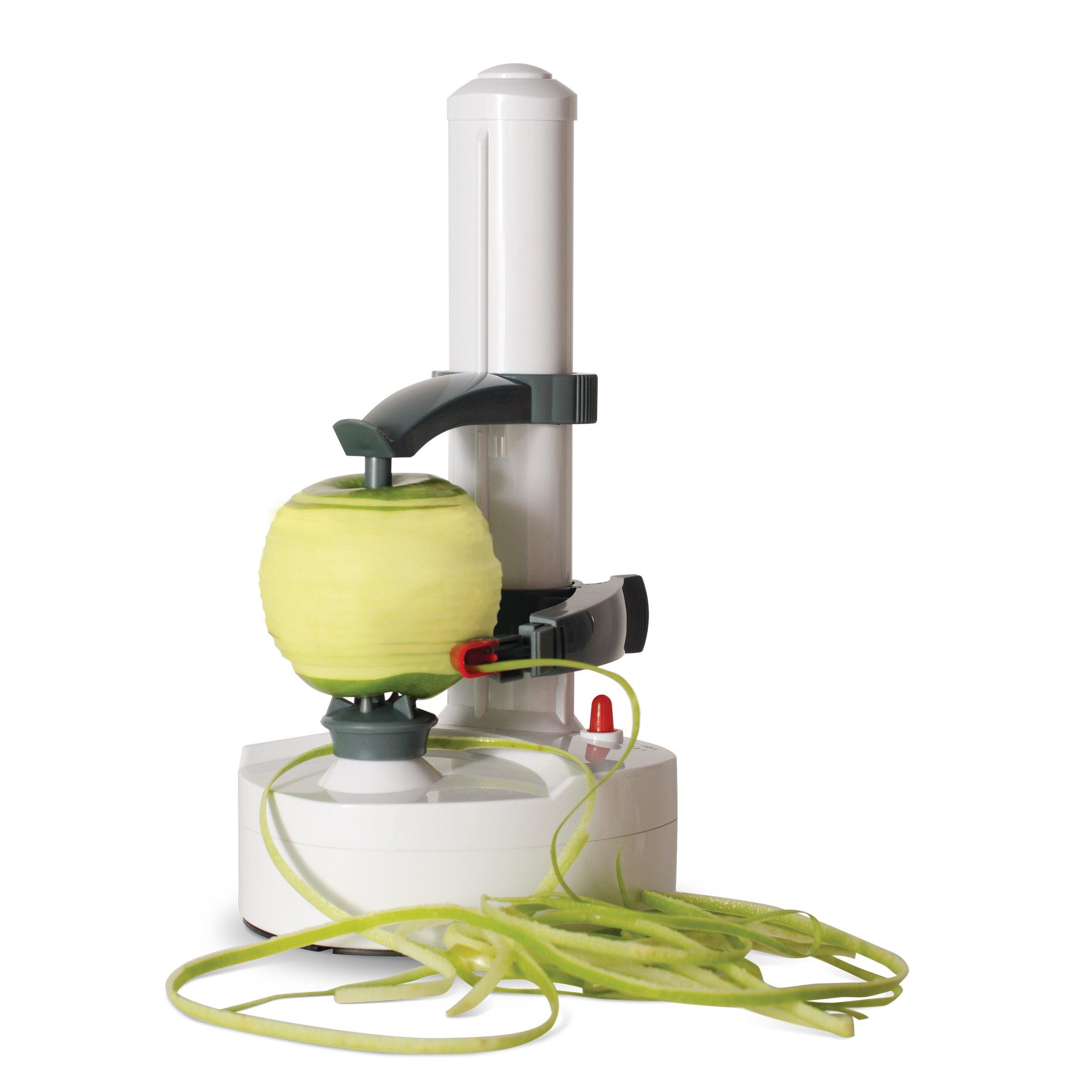 Dash DAP001WA Rapid Electric Potato Peeler Tool + Fruit Skinner with BPA Free Plastic, Auto Shut Off Function, 2 Replacement Blades, Paring Utensil, Recipe Book, White