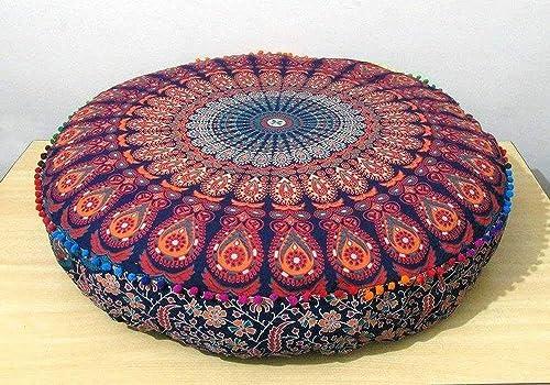Indian Mandala Large Round Floor Pillow Ottoman Pouf Meditation Cushion Cover