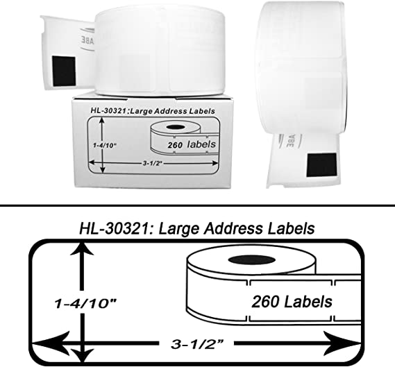 12 Rolls of 260 Lg Address Labels in Mini-Cartons for DYMO® LabelWriter® 30321
