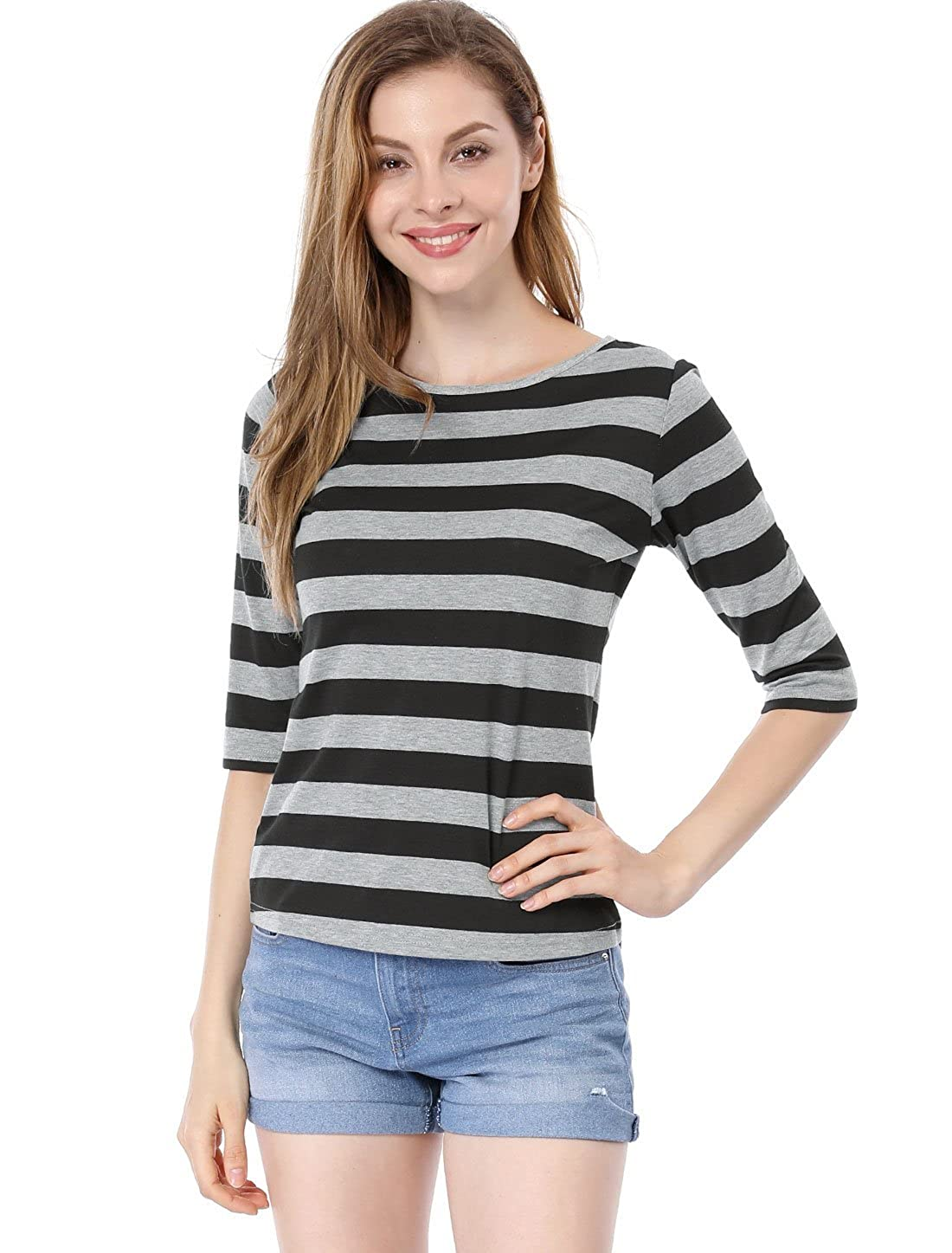 dabbe8ca31c Allegra K Women's Contrast Color Half Length Sleeve Stripes Tops Shirt at  Amazon Women's Clothing store: