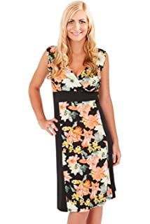 c369f1ef142 Ladies Tropical Contrast Flower Dress Pistachio Womens Sleeveless Summer  Midi