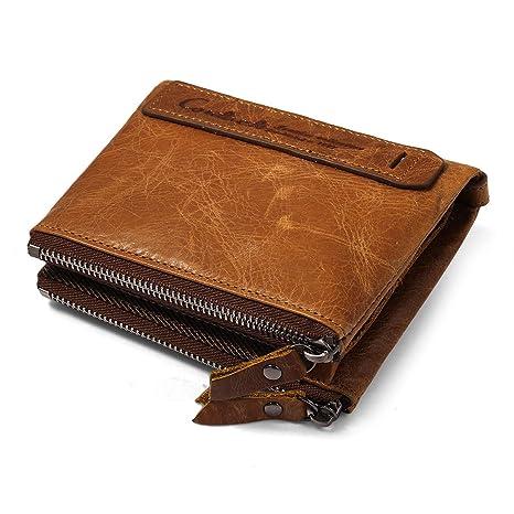 Billetera para hombre del zurriago genuino con tarjeta de crédito titular Zip Bifold cartera regalo en