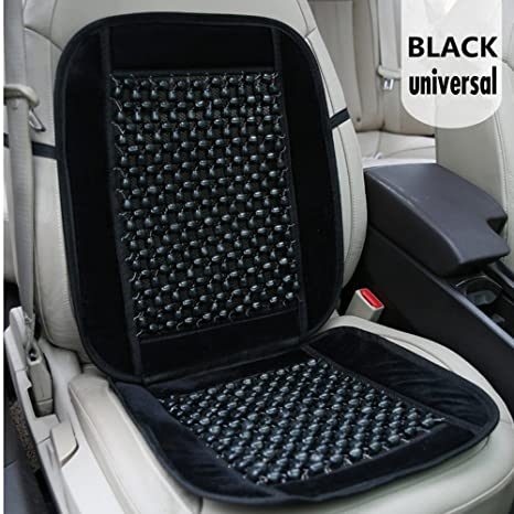 Atliprime Black Velvet And Wooden Beaded Car Seat Cover Comfort Massage Cool Auto Cushion