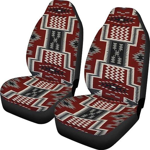 Dreaweet Universal Southwest Tribal Design Car Seat Accessories Native Printing Flexible Elastic Bucket Seat Protectors, Non Slip Dog Backseat Cover