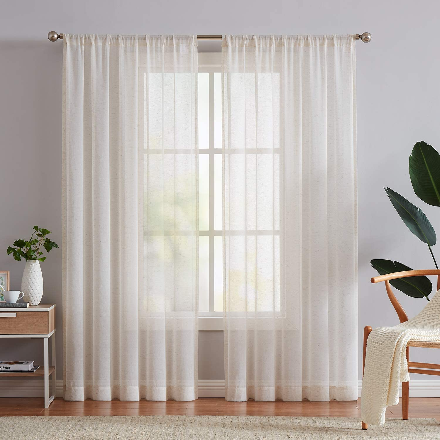 Amazon Com Fmfunctex Linen Flax Sheer Curtain Panels 96 Long Living Room Retro Window Draperies For Bedroom Rod Pocket Sheers 52 Wide X 2 Pack Natural Home Kitchen