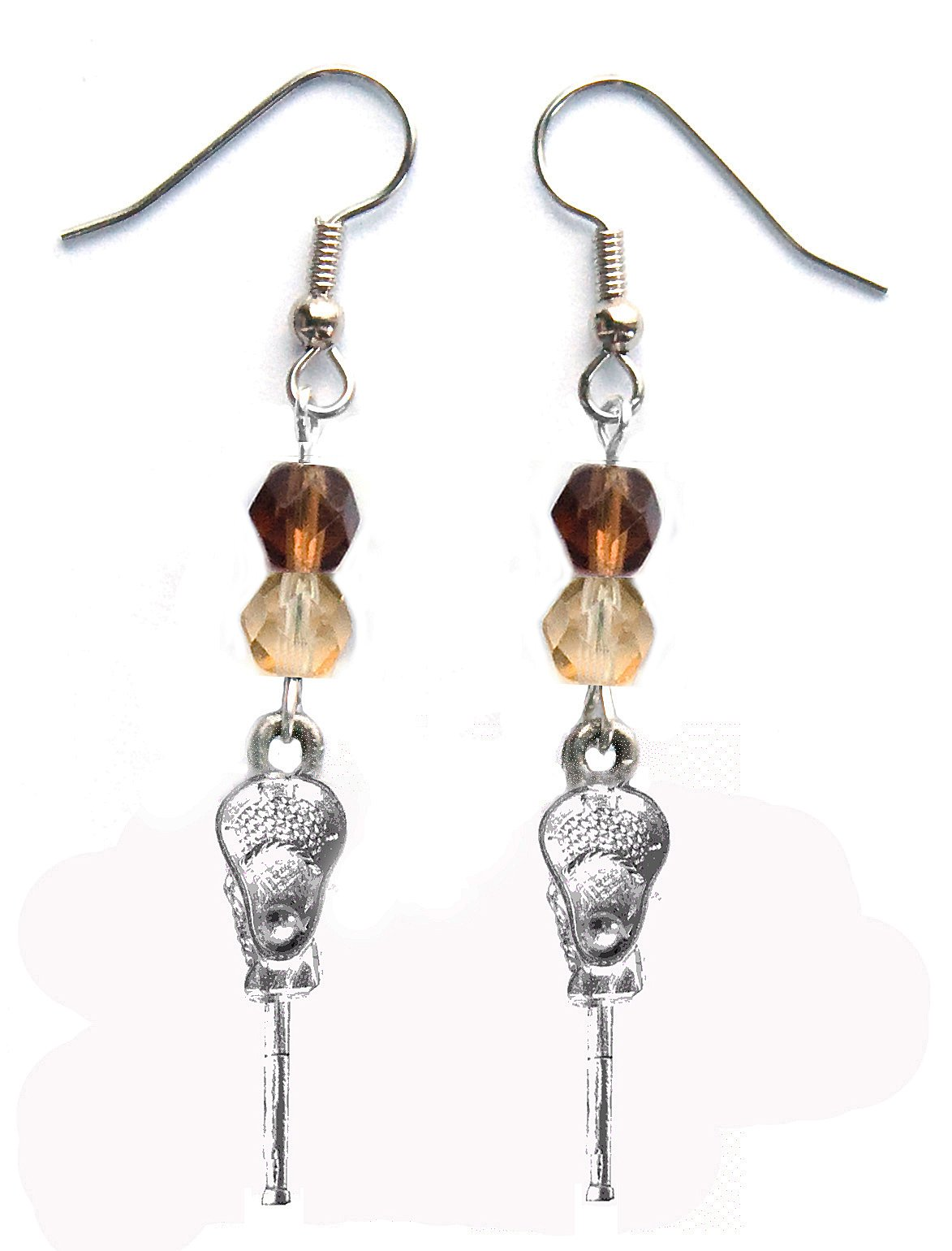 ''Lacrosse Stick & Ball'' Lacrosse Earrings (Team Colors Brown & Gold)