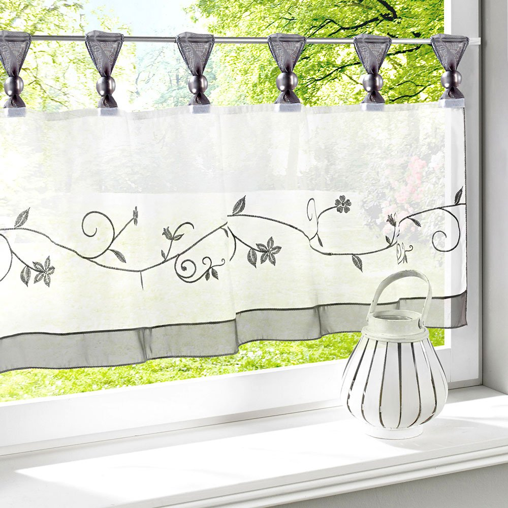 Uphome 1pcs Cute Embroidered Floral Window Tier Curtain - Kitchen Tab Top Semi Sheer Curtain
