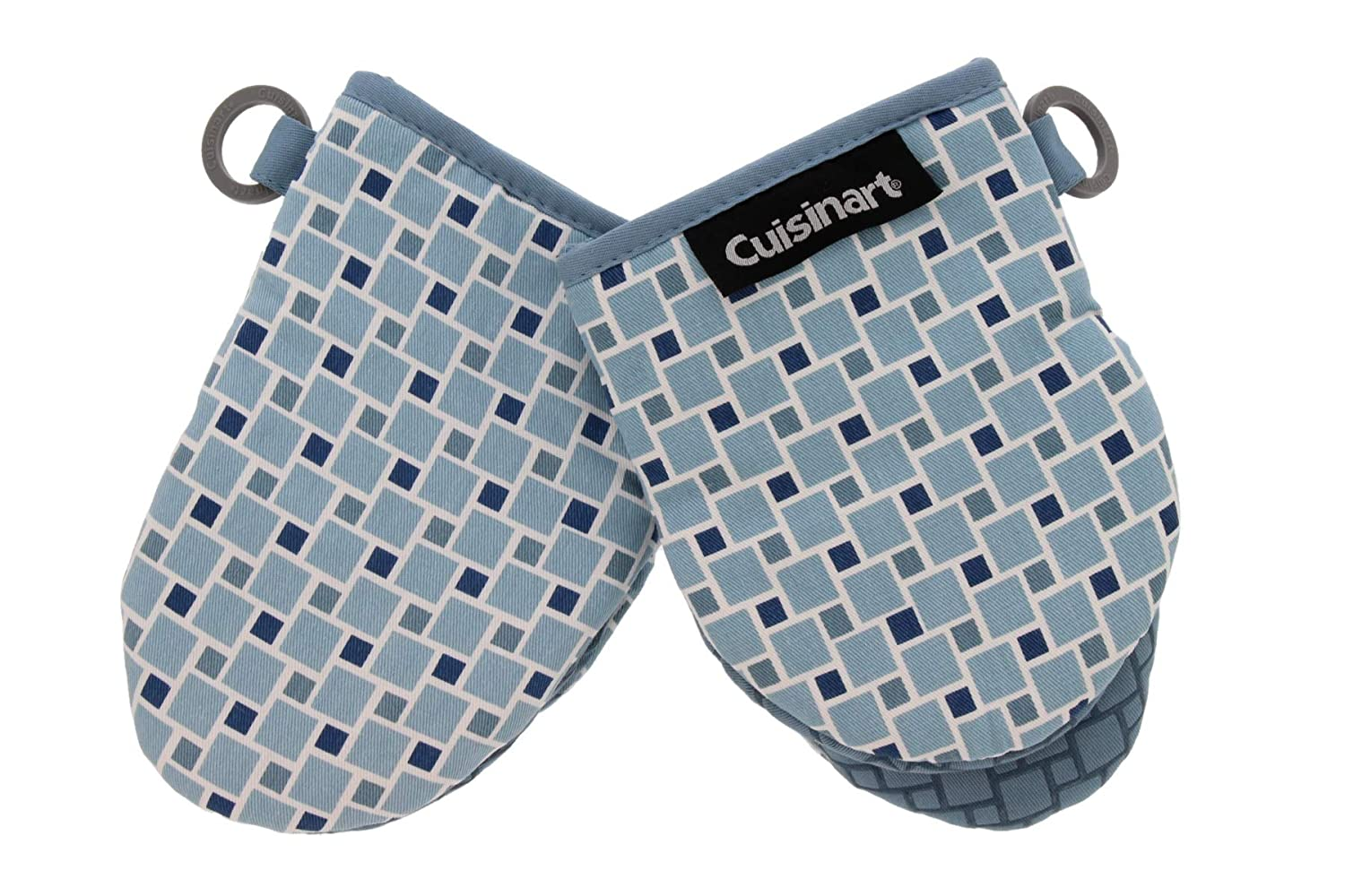 "Cuisinart Silicone Mini Oven Mitts, 2 Pack-Little Oven Gloves for Cooking-Heat Resistant, Non-Slip, Hanging Loop, 5.5"" x 7.5""-Ideal for Handling Hot Kitchen/Bakeware Items - Checkered Arona"