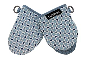 """Cuisinart Silicone Mini Oven Mitts, 2 Pack-Little Oven Gloves for Cooking-Heat Resistant, Non-Slip, Hanging Loop, 5.5"""" x 7.5""""-Ideal for Handling Hot Kitchen/Bakeware Items - Checkered Arona"""