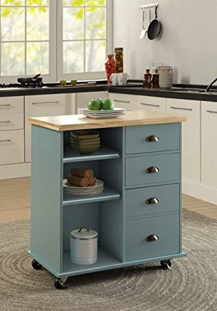 oliver and smith nashville collection mobile kitchen island cart on wheels blue grey. Interior Design Ideas. Home Design Ideas