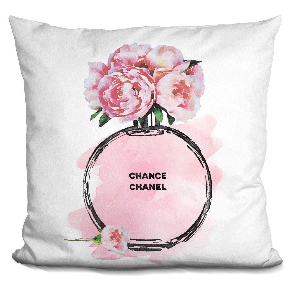 LiLiPi Round Perfume Pale Pink Peony Black Decorative Accent Throw Pillow