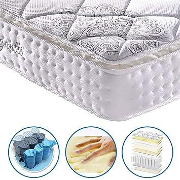 Colchón de espuma y resortes pocket, de lujo, con efecto memoria y con zona de dormir ...