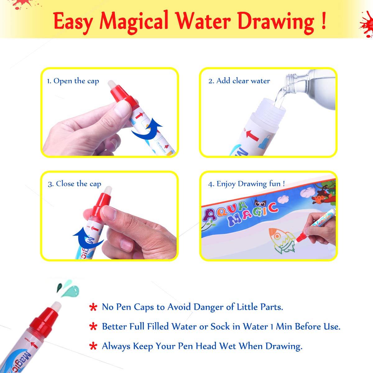 2ac62406dd ... Conthfut Kids Toddler Wasser Zeichnen Matte Toy mit 2 Stiftes, 100 x 70  cm, ...