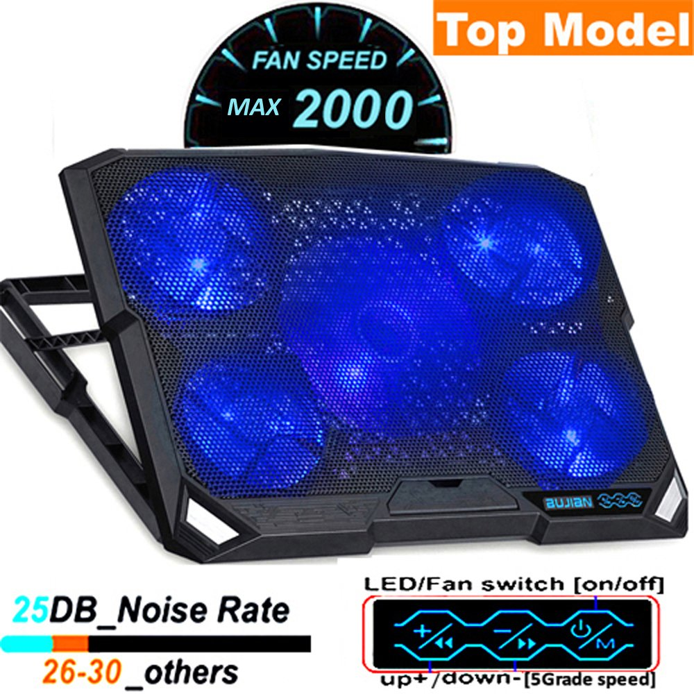 ThreeLeaf@T200K2 10-16inch Laptop Cooling Pad (5Fans Location Coverage and Whisper Quiet, Power/LED Switch and 5Levels Feet Stand)