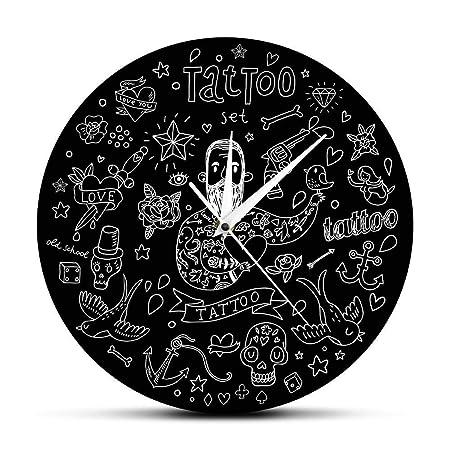 Relojes de Pared Salón de Tatuajes Encantador Tatuaje Estilo de la ...