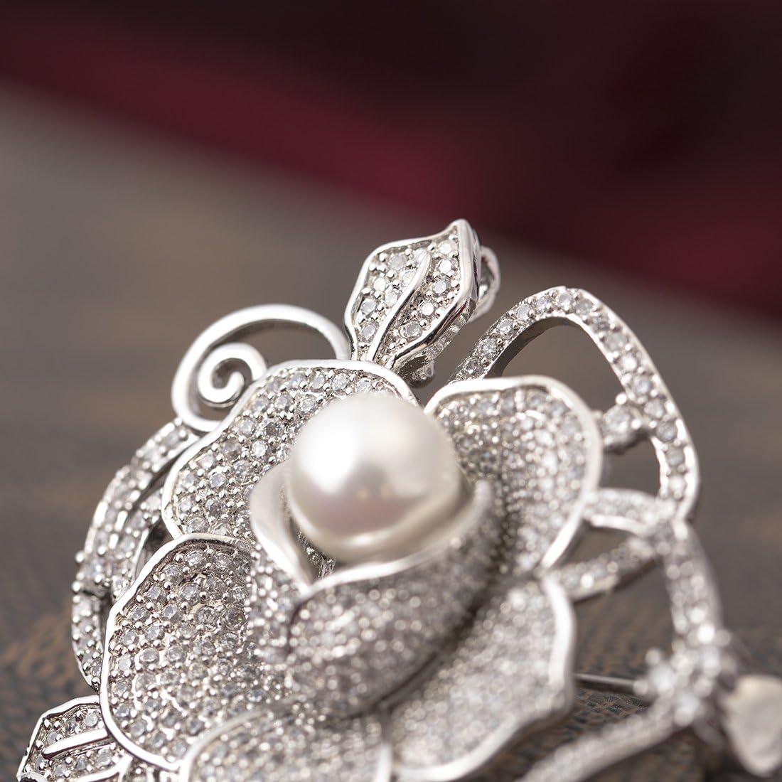 Yazilind Rose Fleur incrust/é Zircon Perle Luxe Broche Femelle Luxe Manteau ch/âle goupille Argent v/êtements Accessoires Couleur