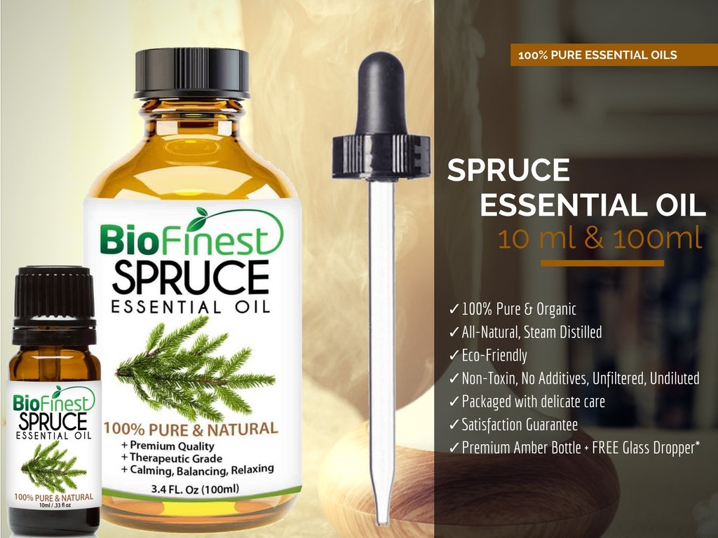 Biofinest Spruce Essential Oil - 100% Pure Organic Therapeutic Grade - Best for Aromatherapy, Skin and Hair Care, Ease Sleep Stress Bad Mood Fatigue Muscle Joint Pain - Free E-Book & Dropper (100ml) by BioFinest (Image #3)
