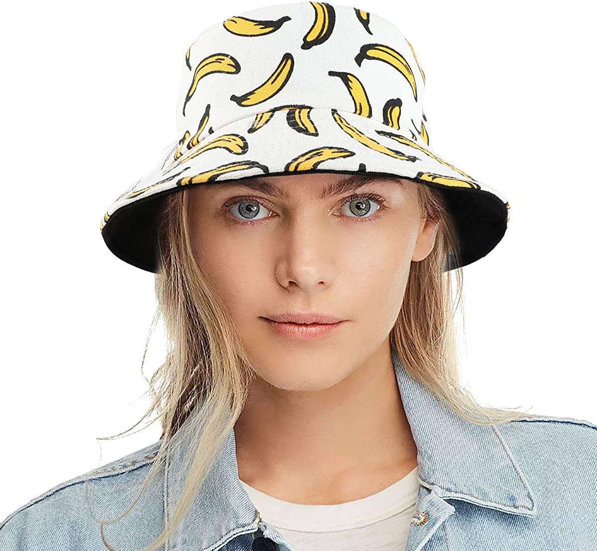Tacobear Unisex Bucket Hat Cappello alla Pescatora Cappello da Sole in Tela a Stampa Frutta Regolabile Spiaggia Cappello di Sun per Donna Uomo Viaggio Spiaggia Banana Bianca