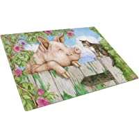 """Caroline's Treasures CDCO0349LCB""""Pig at The Gate with The Cat"""" Glass Cutting Board, Large, Multicolor"""