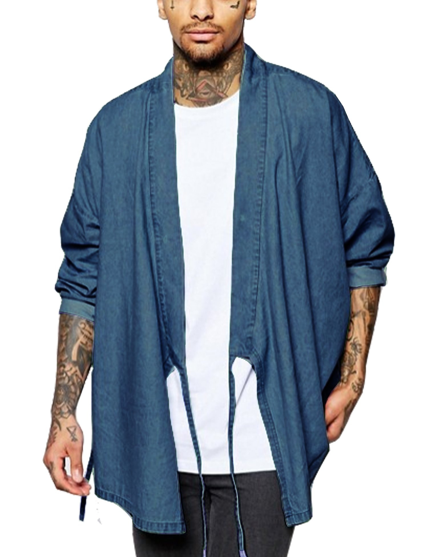 COOFANDY Men's Kimono Casual Long Sleeve Loose Fit Denium Open Front Coat Cloak,Blue,XX-Large by COOFANDY