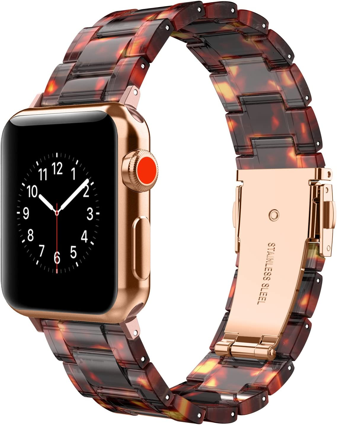 Wearlizer Compatible with Apple Watch Band 42mm 44mm Womens for iWatch SE Lightweight Resin Wristband Bracelet Mens Strap Series 6 5 4 3 2 1-(Deep Rose Gold+Tortoise, 42mm/44mm)