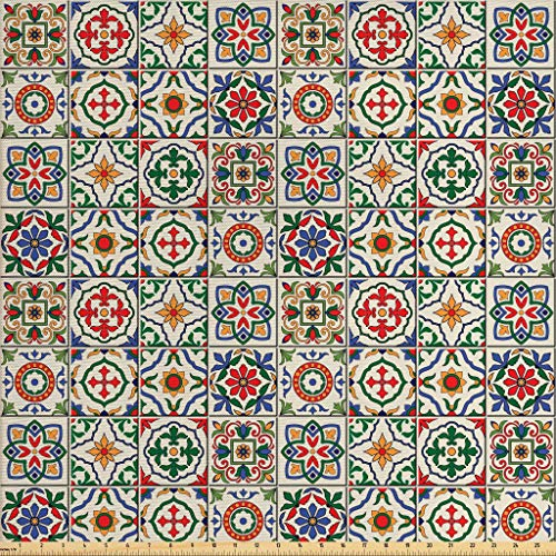 Ambesonne Moroccan Fabric by The Yard, Colorful Azulejo Pattern Portuguese Ornamental Abstract Floral Arrangements Leaves, Decorative Fabric for Upholstery and Home Accents, 1 Yard, Multicolor