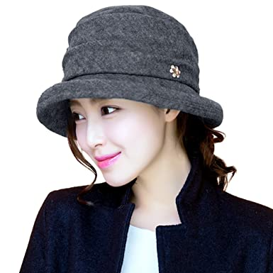 d6f4d96389a575 SIGGI 1920s Winter Fall Wool Felt Cloche Bucket Hat Foldable for Women Grey