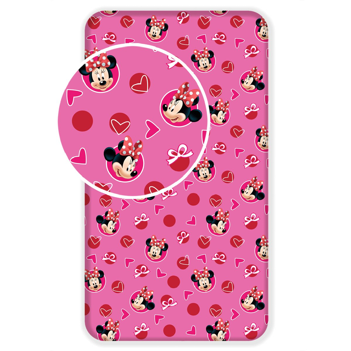 Jerry Fabrics Minnie Mouse Hearts Single Fitted Bed Sheet By BestTrend