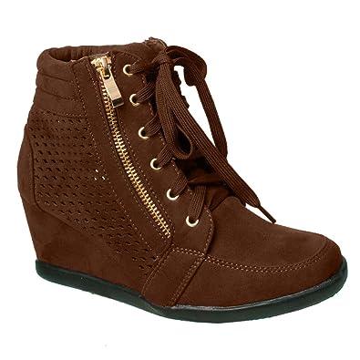 Amazon.com | Women High Top Wedge Heel Sneakers Platform Lace Up ...